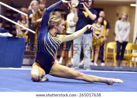 MORGANTOWN, WV - MARCH 8: WVU gymnast Melissa Idell   competes on the floor exercise during a dual meet March 8, 2015 in Morgantown, WV.