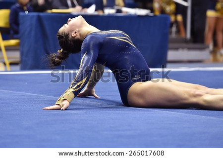 MORGANTOWN, WV - MARCH 8: WVU gymnast Nicolette Swoboda   competes on the floor exercise during a dual meet March 8, 2015 in Morgantown, WV.