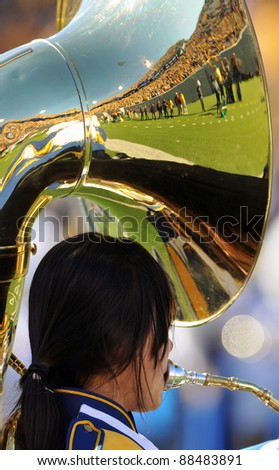 MORGANTOWN, WV - NOVEMBER 5: A tuba player in the Pride of West Virginia performs prior to the football game between WVU and Louisville November 5, 2011 in Morgantown, WV