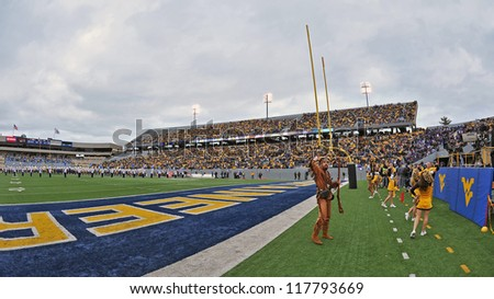 MORGANTOWN, WV - NOVEMBER 3: Mountaineer Field, home of the WVU football team, shown just prior to a WVU home football game through a fisheye lens November 3, 2012 in Morgantown, WV.