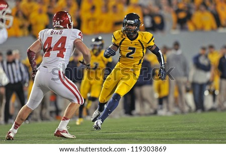 MORGANTOWN, WV - NOVEMBER 17: WVU wide receiver Travares Copeland (2) covers a kickoff during the Big 12 conference game between the Mountaineers and Sooners November 17, 2012 in Morgantown, WV