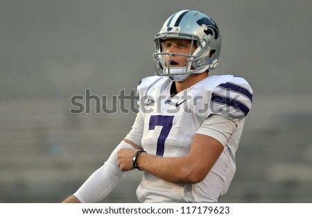 MORGANTOWN, WV - OCTOBER 20:  Kansas State Wildcats quarterback Collin Klein shown prior to the Big 12 football game October 20, 2012 in Morgantown, WV.
