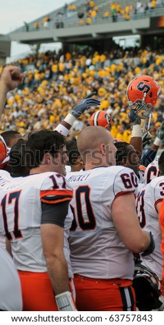 MORGANTOWN, WV - OCTOBER 23: Members of the Syracuse University football team celebrate with their fans following the upset win over the West Virginia Mountaineers October 23, 2010 in Morgantown, WV.