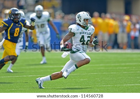 MORGANTOWN, WV - SEPTEMBER 29: Baylor Bears wide receiver Levi Norwood (42) runs in the open field during a Big 12 conference football game September 29, 2012 in Morgantown, WV.