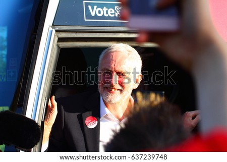 Morley Leeds UK MP Jeremy Corbyn leaving on his bus after a rally for his labour supporters ahead of the 2017 general election Editorial