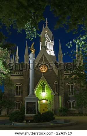 Mormon church and seagull monument in Salt Lake City, Utah, USA