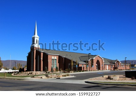 Mormon church in rural Utah, USA. #159922727