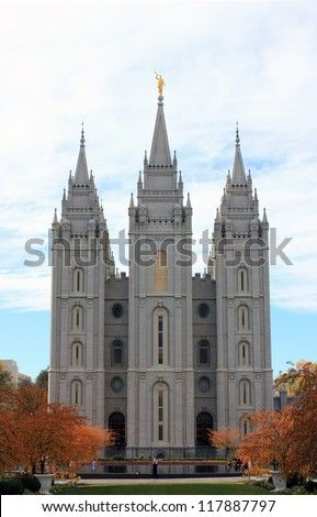 Mormon temple in Salt Lake City, Utah, USA.