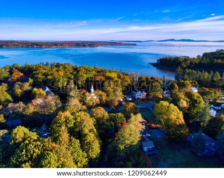 Morning Aerial View of Eastern Bay, Mount Desert Island Maine