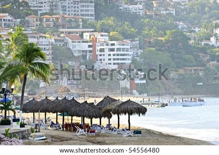 Morning beach and ocean in Puerto Vallarta, Mexico