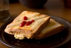 Morning breakfast - cheese toast with ketchup