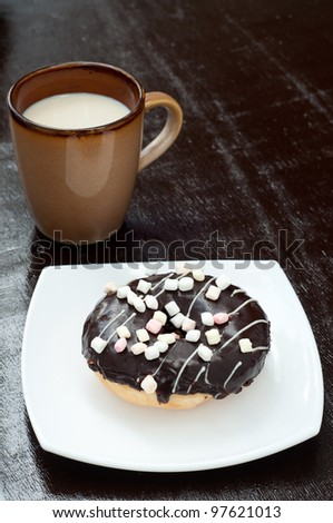 morning breakfast with donut and soy milk