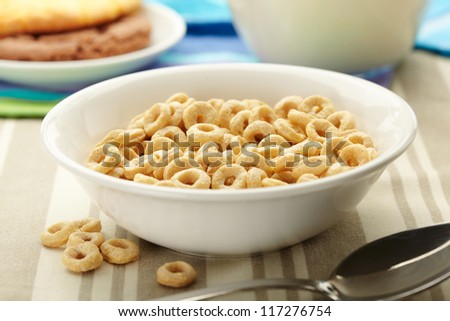 Morning Cereal in a bowl. Close up view