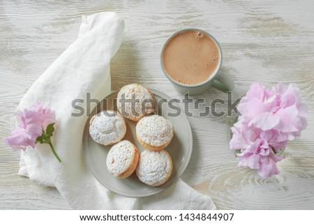 morning, Choux Buns, a mug  of coffee on a light background #1434844907
