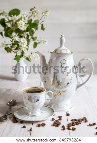 Morning Coffee And A Bouquet In A Vase On A White Table Ez Canvas