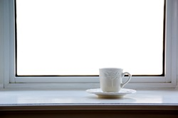 Morning coffee cup at window sill. Add your own image/text.