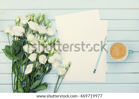 Free photos coffee mug with white flowers and notes good morning on morning coffee cup empty paper list pencil and bouquet of white flowers eustoma mightylinksfo