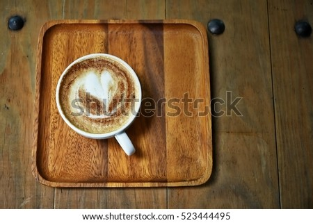 Morning Coffee; hot fresh coffee in cup with morning light #523444495