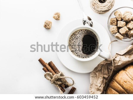 morning coffee on a white table