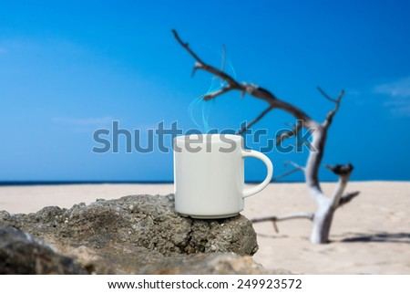 morning coffee on the beach.