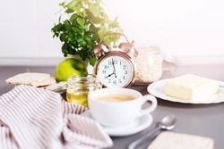 Morning Coffee White Cup Breakfast Alarm Clock Kitchen Modern Life Style Clean Food Table Ware Background Square
