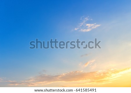 morning colorful clear blue sky background with white clouds sunrise or sunset. #641585491