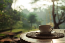 morning cup of coffee on the table overlooking the tropical jungle, Indonesian bali
