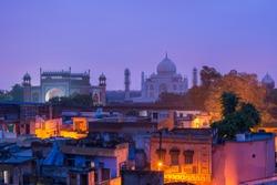 Morning dawn at Taj Mahal, India and Agra old town