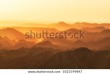 Morning dawn in the mountains