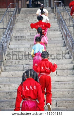 morning exercise,the chinese child exercise the chinese martial
