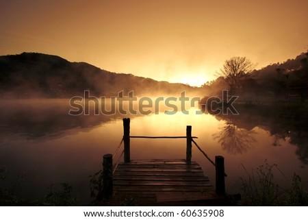 morning fog at urban village, Mae Hong Son, Northern Thailand