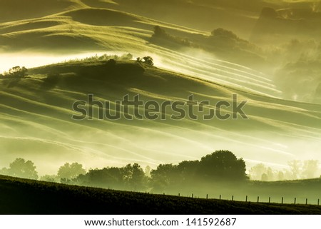 Morning fog in countryside Tuscany
