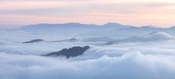 Morning fog in dense tropical rainforest,Betong/Yala/Thailand