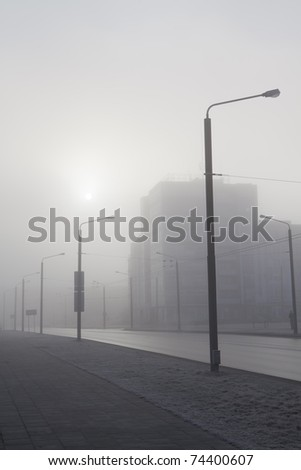 Morning fog in the city