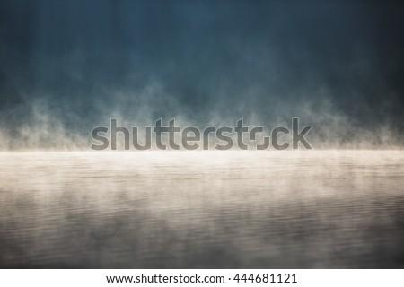 Morning fog on the lake, sunrise shot #444681121