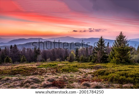 Morning fog over the mountain peaks at dawn SUnrise in mountains. Mountain landscape at dawn. Mountain dawn landscape