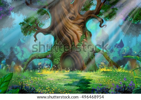 stock photo morning forest video game s digital cg artwork concept illustration realistic cartoon style 496468954 - Каталог — Фотообои «Для детской»