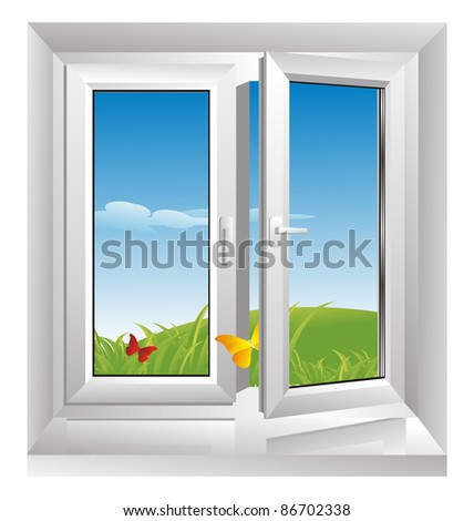 morning freshness in a glass plastic window - stock photo