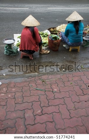 morning fruit market in Vietnam, Asia - stock photo