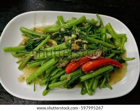 morning-glory vine fried in garlic, chili and bean sauce #597995267