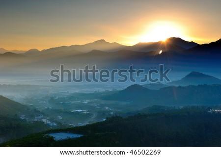 morning has broken in mountains