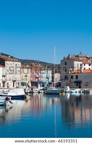 Morning in Adriatic town Cres - stock photo