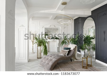 Morning in luxurious light interior in hotel. Bright and clean interior design of a luxury living room with parquet wood floors, fireplace, sofa and houseplant. Stucco on walls #1183673077