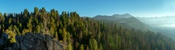 Morning in Mountains, Sequoia National Park, Panoramic view . California, USA