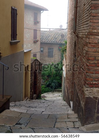 morning in the Tuscan town. Chiusi - one of the most ancient Etruscan towns in Tuscany, Italy