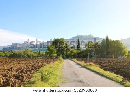 Morning in typical Italian countryside of the heart of Italy with the town of Assisi and Saint Francis Basilica on the background.