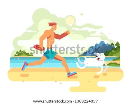 Morning jog on beach. Fitness lifestyle, healthy exercise, jogging run, athlete runner, flat illustration