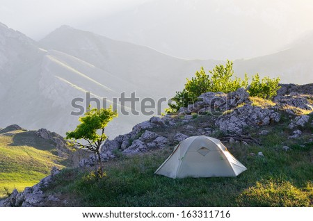 Morning landscape with a tent. Camping in the Spring Mountains
