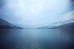 Morning landscape with lake and mountains. Pokhara, Nepal
