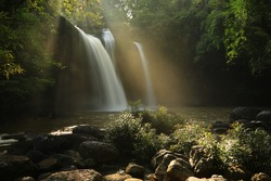 morning light at Haew Suwat Waterfall (Nam tok Haew Suwat) was probably the most popular waterfall in Khao Yai National Park.Thailand